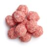 Top view of raw meat balls isolated on white