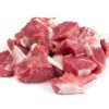 Raw chopped lamb fillet, diced tenderloin or cubed mutton sirloin meat isolated. Fresh sheep fillet cubes, loin filet with ground pepper for skewers
