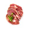 Four lamb slices with spice herbs, isolated, top view
